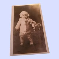 Sweet Child with Horse Toy Vintage Photograph Photography