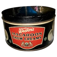 Vintage Tin Litho Advertising Tin Westons Macaroons Snow Creams Canada