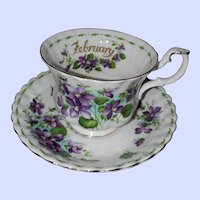 Royal Albert Flower Month Series Teacup Saucer February Violets