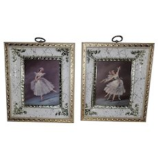 Mid-century Shadowbox Framed Ballerina Prints Signed Carina
