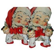 Mid-Century NAPCO Originals Ceramic Christmas Noel Candle Holder Children