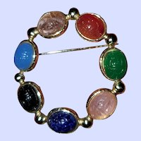 Carved Glass Scarab Brooch Faux Gemstone