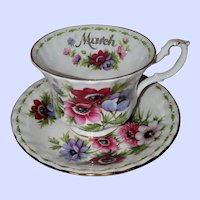 Royal Albert England March Flower Month Series Anemones Teacup Saucer