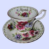 Royal Albert England March Flower Month Series Anemones Teacup Saucer