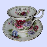 Royal Albert England Flower of the Month March Anemones Teacup Saucer