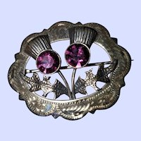 Silver Thistle Brooch Pin Hallmarked  WBs With Purple Amethysts