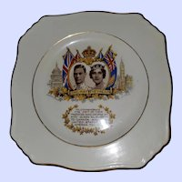 Collectible Royalty Plate King George  VI Queen Elizabeth  1939 Royal Winton