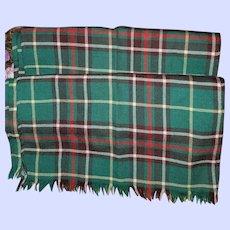 Vintage Pure Wool Newfoundland Tartan Fringed Scarf House of MacLeod Truro N.S.