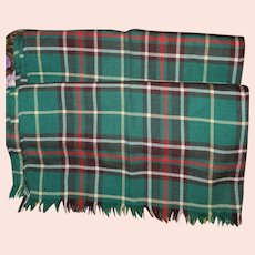 Vintage Pure Wool Newfoundland Tartan Fringed Scarf House of MacLeod Truro N.S.