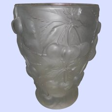 Barolac Czech Glass Frosted  Satin Crystal Cherry Vase Josef Inwald