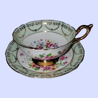Regency England  Bone China Floral Teacup Saucer Set