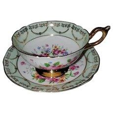 Regency England  Bone China Floral Teacup Saucer Set