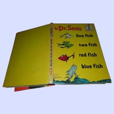 Hard Cover Dr Seuss Book One Fish Two Fish Book Club Edition