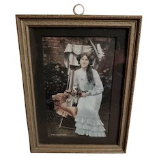 Framed Old Tinted Post Card Singer Actress Miss Zena Dare