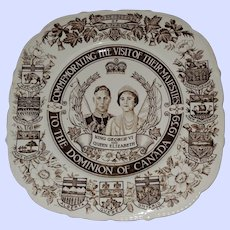 Commemorative Royalty Plate King George  VI Queen Elizabeth 1939