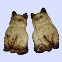 Vintage C. Taylor Ind. Chalkware Kitty Cat Plaques Wall Art
