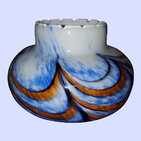 Hand Blown  Mid-Century VB Opaline Marbled  Glass Vase