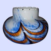 Hand Blown  Mid-Century VB Opaline Marbled  Glass Vase