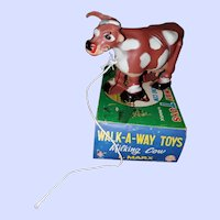 Louis Marx Walking-A-Way Toys Milking Cow W Box