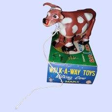 Louis Marx Walking-A-Way Toys Milking Cow W Box