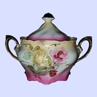 Gorgeous Porcelain Vintage Biscuit Cracker Jar Pot Rose Floral