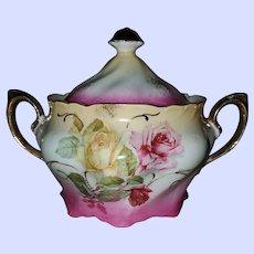 Gorgeous Porcelain Vintage Biscuit Cracker Jar Pot Rose Floral