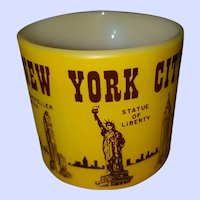 Souvenir Yellow  & Brown Milk Glass Mug Federal USA New York City