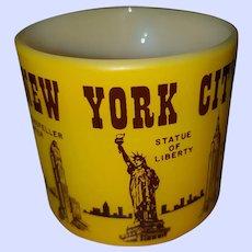 Souvenir Yellow  & Brown Milk Glass Mug Federal USA New York City