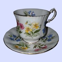 Paragon England Fine Bone China English Flowers Teacup Saucer Set