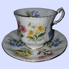 Paragon England Fine Bone China English Flowers Teacup Saucer Set