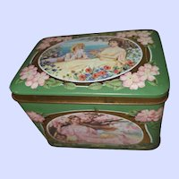 Toffee Tin Litho  Advertising Box  Pretty Ladies  Seasons MI England  Prestige