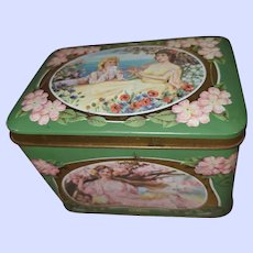 Toffee Tin Litho  Advertising Box  Pretty Ladies  Seasons MI England  Prestige