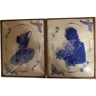 Vintage Colonial Couple Convex Glass Wall Art