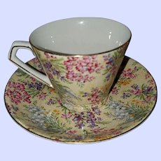 Pretty Chintz Tea Cup Saucer Lord Nelson Heather
