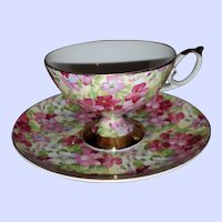 Hand Decorated Floral Chintz Tea Cup Saucer Set Shafford