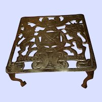 Small Brass Stand Trivet Fireplace Coat of Arms Vintage English Mid 20th Century