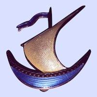 Vintage Ivar T Holt 925 Sterling Silver Guilloche Enamel Sail Boat Brooch Pin