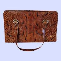 Pre-owned Vintage Brown Snakeskin Handbag Purse