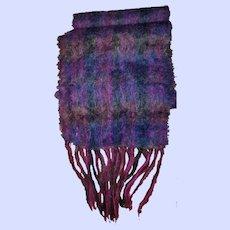 Pretty Vintage Purple Mohair Wool Fringed Scarf England