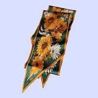 Designer Signed Vera Floral Themed Wing Tip Scarf