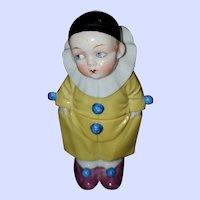 Clown  Harlequin Porcelain Figural Covered Pot Dispenser