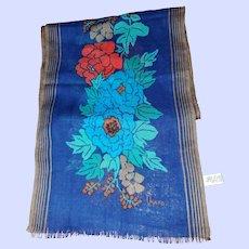 Designer Signed Vera All Wool Floral Themed Rectangular Scarf