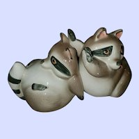 Hand Painted Fritz and Floyd Inc. C . MCMLXXX  Raccoon Bookends Book Ends