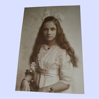 Charming Vintage Photograph of Young Lady with Ling Hair Pretty  Dress