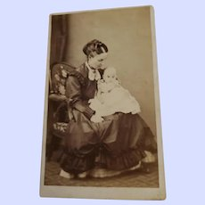 Charming Vintage CDV Photography Mother & Child by Edouard Nickels