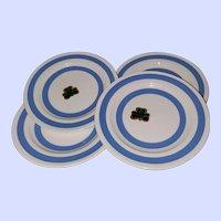 "4 Carrigaline Pottery Ireland Banded 7 "" Plates"