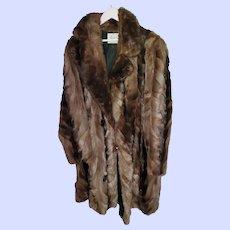 Patched Mink Fur Ladies Coat Canadian Made Sz XL