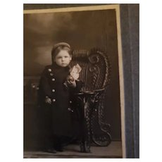Charming Vintage Photograph of Little Child Holding Doll