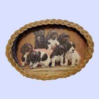 Charming Vintage Wicker Tray Puppy Dog Art Print