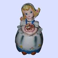 Vintage Lefton Japan Dutch Girl Ceramic Cookie Jar As Is
